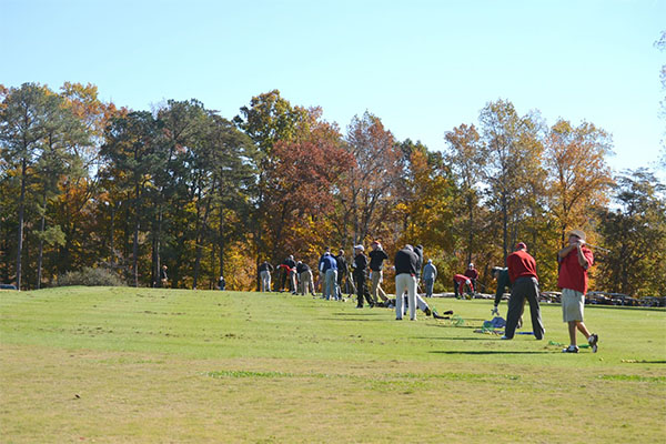 Practice Green with golfers